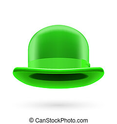 Green bowler hat - Green round traditional hat with hatband...