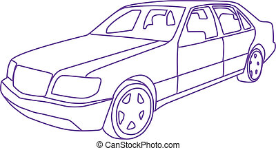 Sedan outline - sedan outline vector illustration clip-art...