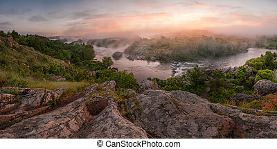 Beautiful sunrise with fog on the river, nature landscape