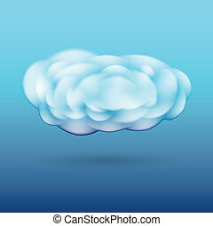 Fluffy cloud with shadow - Scalable white vector fluffy...