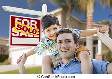 Mixed Race Father, Son Piggyback, Front of House, Sold Sign...