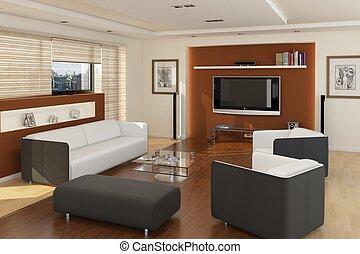 modern living Room - Computer rendered illustration modern...