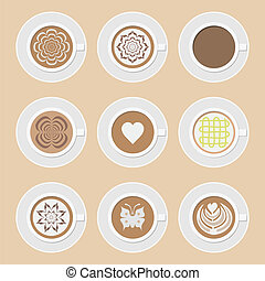 coffee icon - set of cup of coffee, americano, cappuccino,...