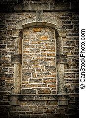 Old, Gothic Style Stoned Up Window Frame - Detail of the...