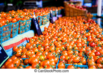Farmers Market Tomatoes - Cherry Tomatoes at the farmers...