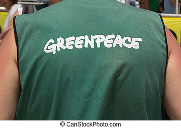 GreenPeace - VALENCIA, SPAIN - JUNE 10, 2014: A crew member...