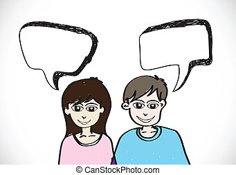 People face emotions icons with dialog speech bubbles