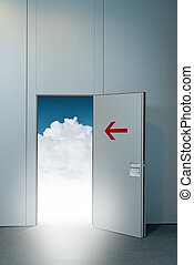 Exit door to heaven, conceptual image. Leaving all problems...