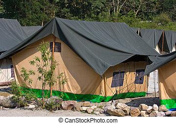 Camp on the banks of the Ganges River. Uttarakhand, India.