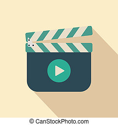 Clapboard - Movie clapper board icon with shadow,...
