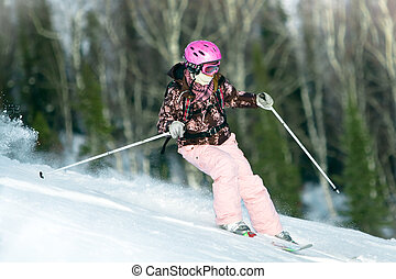 Girl riding on skis - Girl riding fast on skis