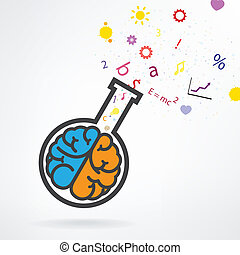 Creative left and right brain sign with the test tube on...