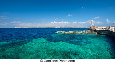 Marfa Harbour Malta wide angle - The Marfa Harbour with Gozo...