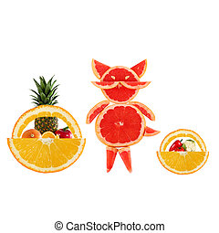 Healthy eating Funny little cat made of the grapefruit...
