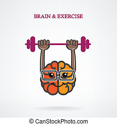 Creative left and right brain sign with the barbell on...