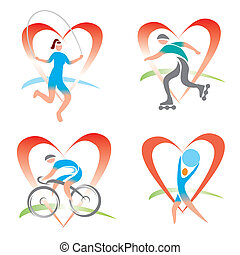 Icons I love fitness - Four symbols with fitness activities...
