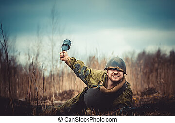 Red Army soldier - Young man in Red Army form posing with...