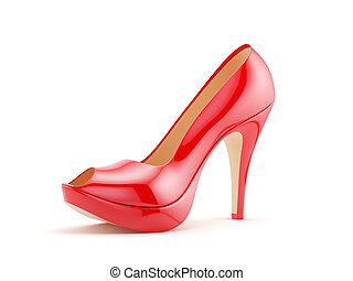 Red high heels - 3d render of a red high heels on white...