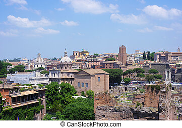 Rome historic center city and ancient ruins, Italy