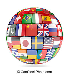 Flags collection sphere - 3d illustration of flags...