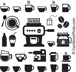 cup and coffee icon set - cup and coffee vector icon set
