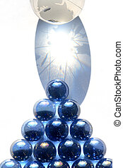 Glass Billiards - Game of billiards made from blue glass...