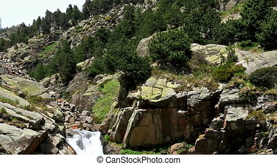 Beautiful veil cascading waterfalls (Spain,Vall de Nuria)