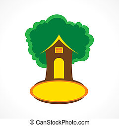 creative tree house vector - creative tree house icon design...