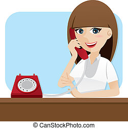 cartoon smart girl using telephone - illustration of cartoon...