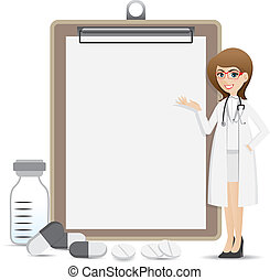 cartoon smart pharmacist presentation with blank clip board...