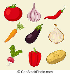 vegetables icons set - vector illustration. eps 8