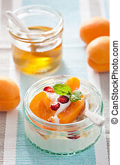 healthy breakfast with yogurt apricot pomegranate honey