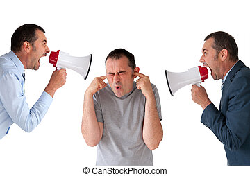 man being yelled at by managers isolated on white