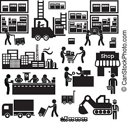 manufacturer and distributor icon for business system