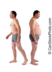 man before and after diet - fat and slim version of the same...