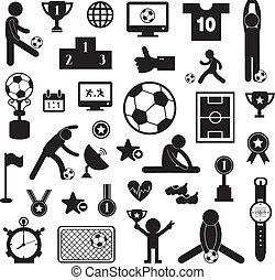 football icon set on white background