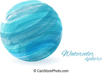 Watercolor sphere - conceptual background - Abstract...