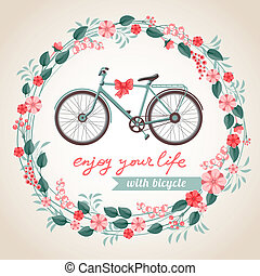 City bicycle - Vintage postcard with the bicycle in floral...