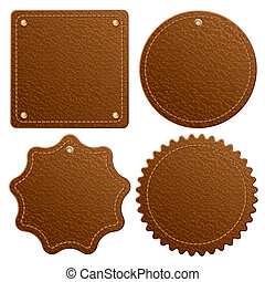 Leather label - Set of brown leather label. Isolated on...