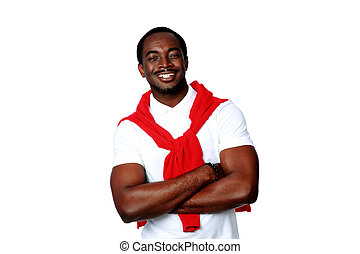 Portrait of a happy african man over white background
