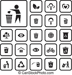 environment icon set on white background