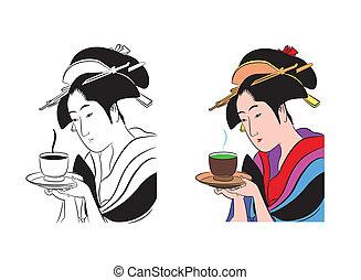 Geisha and green tea - Vector illustration geisha and green...