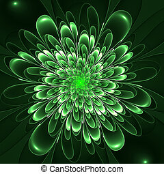 Beautiful lush green flower on green background. Computer...