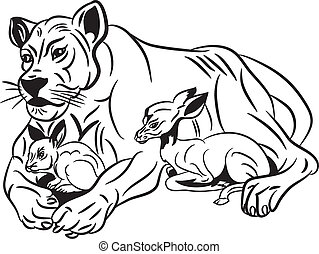 Lion,rabit and roe. - Vector illustration lion,rabit and...