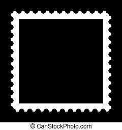 Stamp - Square stamp with copy space on black background