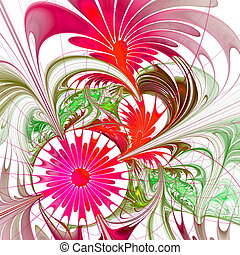 Flower background. Vinous and green palette. Fractal design....