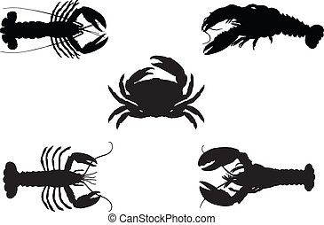 Silhouette Lobster and crab,vector illustration