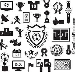 football icon set - football  icon set on gray background