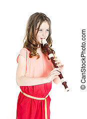 young girl with alto recorder and white background