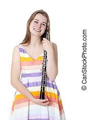 微笑, 女孩, 鮮艷, 衣服, 雙簧管